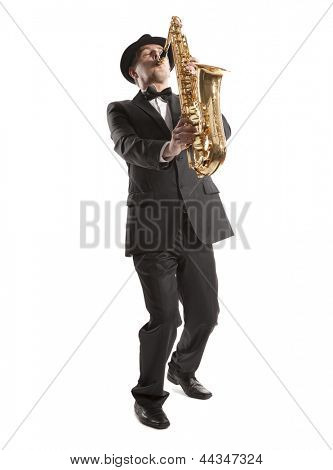Saxophonist. Middle aged man playing on saxophone isolated on background poster