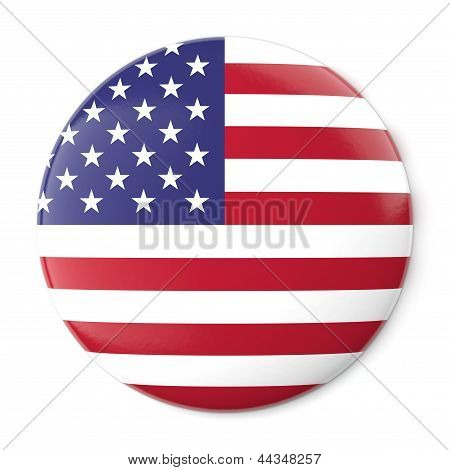 A pin button with the flag of the United States of America. Isolated on white background with clipping path. poster