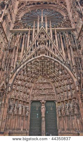 Central (west) portal of the Cathedral of Our Lady of Strasbourg (Cathedrale Notre-Dam circa 1439). Sculptures show Bible stories poster