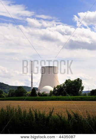 Atomic Nuclear Power Station Meadow Grass Blue Sky