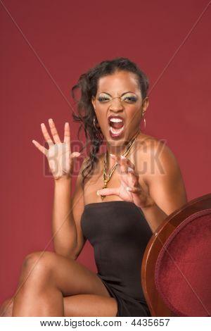 Emotional Screaming Ethnic Glamorous Young Woman