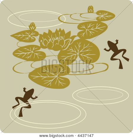 Floral Element  And Frog In Chinese Traditional Paper Cut Style
