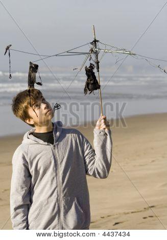 Teen Boy With Umbrella