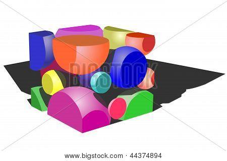 A cube of circles