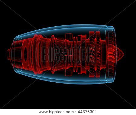 Turbo Jet Engine (3D Xray Red And Blue Transparent)