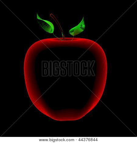 Apple (3D Xray Red And Blue Transparent)