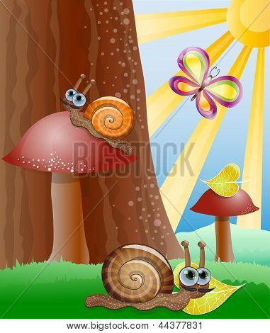 Cute picture with snails. Illustration 10 version poster