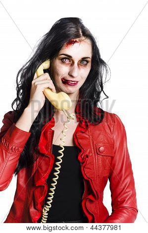 Zombie Woman On Telephone