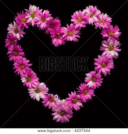 Floral Heart Against Black Background