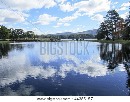Beautiful Lake With Reflection In The Water With Colors And A Blue Sky