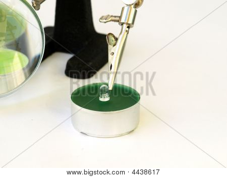 Concept Of Green Technology - Led Light On Candle