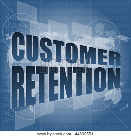 Customer Retention Word On Business Digital Screen, art illustration