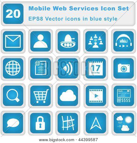 Мобильный веб служб Икона Set