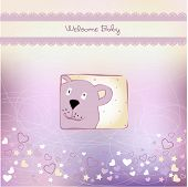 baby shower card with teddy bear toy vector illustration poster