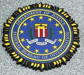 FBI emblem on fallen officers memorial in Brooklyn, NY