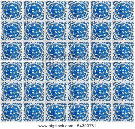 Authentic Mediterranean Ceramic Tile Square With Fishs Painting.