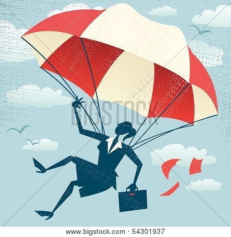 Abstract Businesswoman Uses Her Parachute.eps