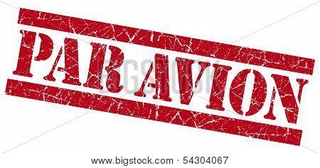 Par Avion Grunge Red Stamp
