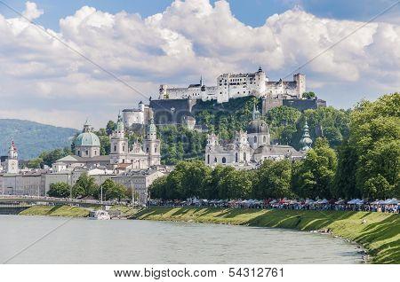 Salzach river on its way through Salzburg city Austria poster