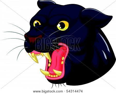 Black panther head mascot cartoon