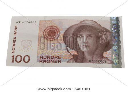 One Hundred Norwegian Crones Paper Bank Note