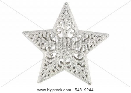 Beautiful silver christmas star over the white background