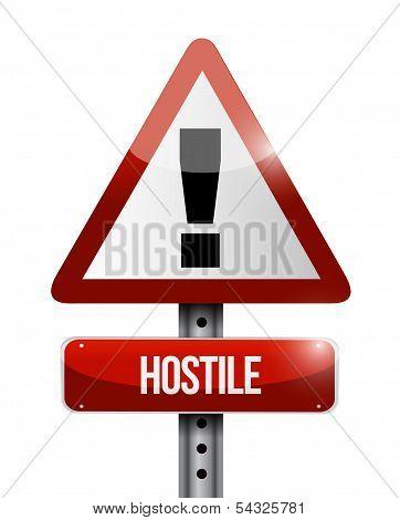 Hostile Warning Road Sign Illustration Design