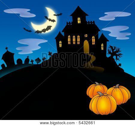 Casa embrujada con calabazas