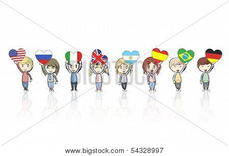 Group Of Kids Holding Heart Flags, Vector Design