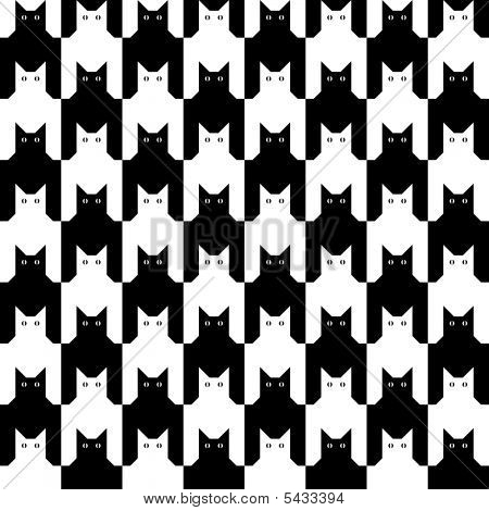 """Seamless """"cats"""" hounds tooth pattern in black and white. poster"""