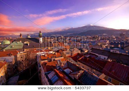 Alpine Town In Sunset