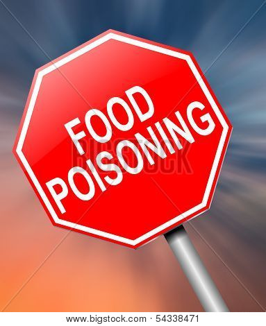 Illustration depicting a sign with a food poisoning concept. poster