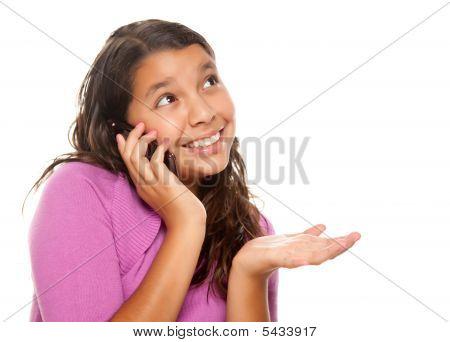 Happy Pretty Hispanic Girl On Cell Phone