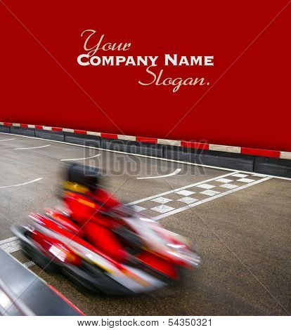 Speeding car on a kart race