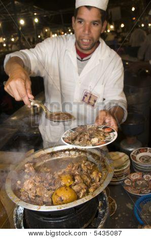 Lamb Tagine At Outdoor Restaurant In Jemaa El Fna Plaza Square In Marrakech Morocco