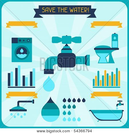 Save the water. Poster with infographics in flat style.