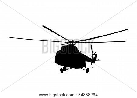 Vector illustration the silhouette of the helicopter. poster