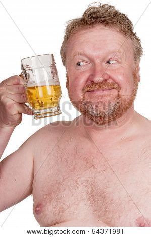 Overweight Middle Aged Man With Drinking Beer