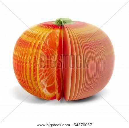 Paper Stick Note Grapefruit Mandarine Isolated