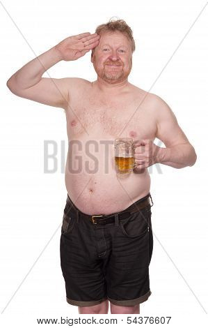 Overweight Middle Aged Man With Glass Of Beer