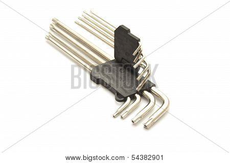 Torx Wrench Set on white background