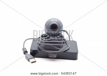 Webcam with External Hard Drive Disk