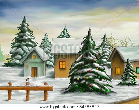 Small village in a snowy christmas landscape. Digital illustration.