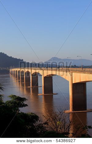 loas-japan bridge crossing Mekong river in Champasak southern of Loas poster