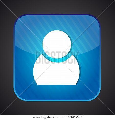 User icon - vector blue app button