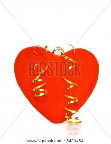 Celebrating Love With Red Heart And Festive Ribbons