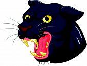 Vector illustration of Black panther head mascot cartoon poster