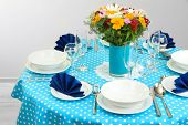 Beautiful table setting for breakfast poster