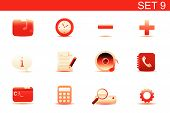 Vector illustration set of red elegant simple icons for common computer and media devices functions. poster
