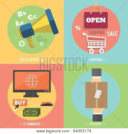 Icons for e-commerce delivery online shopping digital marketing business tools poster